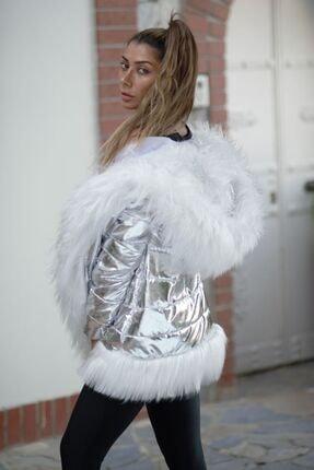 Keyifli Moda Kadın Clara Gümüş Su Geçirmez Kürklü Mont 4