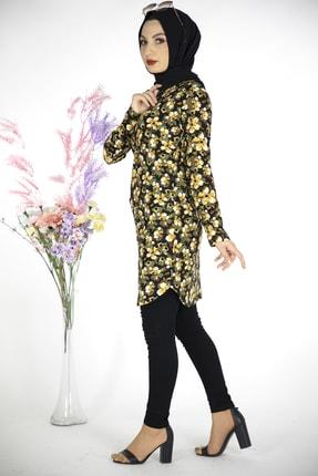 MODANOİVA Kadın Sarı Çiçek Desen Krep Tesettür Tunik 3