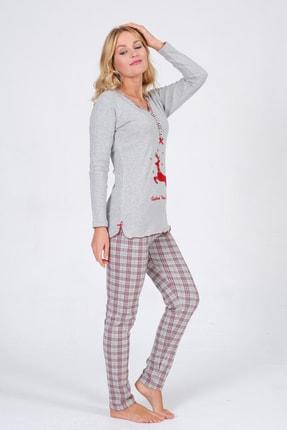 Pijama Denizi Kadın Uzun Kollu Düğmeli  Geyik Nakışlı Gri Ekoseli Interlok Pijama Takımı 3