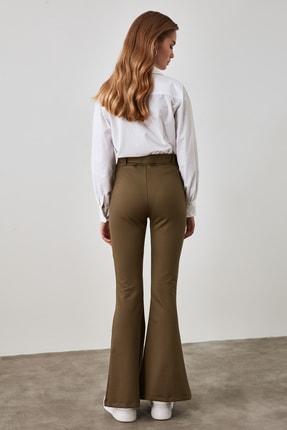TRENDYOLMİLLA Haki Taşlı Kemerli Yırtmaç Detaylı Örme Pantolon TWOSS20PL0100 3