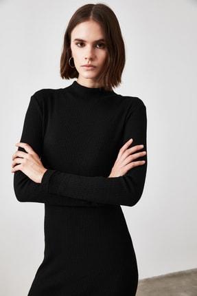 TRENDYOLMİLLA Siyah Fitilli Bodycon Midi Örme Elbise TWOAW21EL0135 2