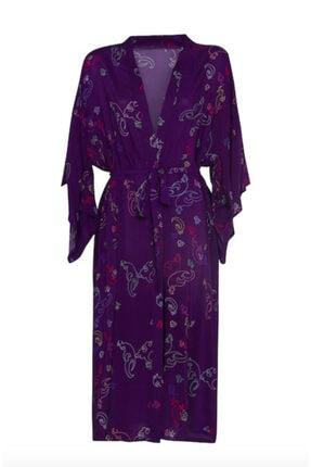 iodes Kadın Mor Uzun Kimono 0