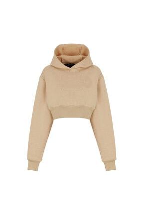 Fineapple Kadın Bej Kapüşonlu Crop Sweatshirt 0