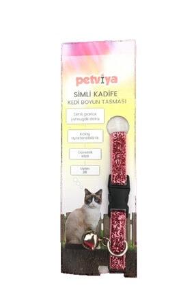 petviya Simli Kadife Kedi Boyun Tasması Parlak Doku Pembe 0