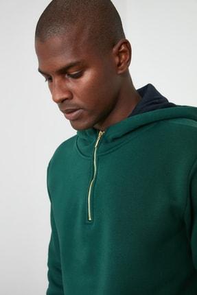 TRENDYOL MAN Ördek Başı Yeşili Erkek Kapüşonlu Yarım Fermuarlı Yeni Sweatshirt TMNAW20SW0507 1
