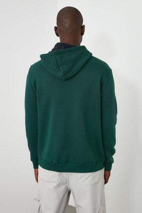 TRENDYOL MAN Ördek Başı Yeşili Erkek Kapüşonlu Yarım Fermuarlı Yeni Sweatshirt TMNAW20SW0507 4