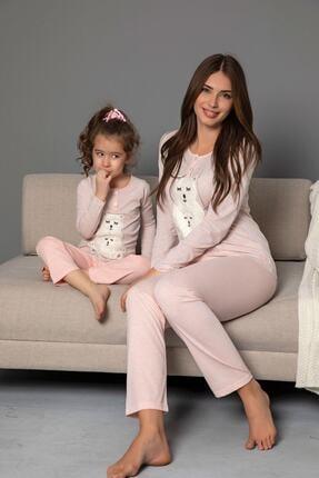 çocuk Pamuklu Likrali Düğmeli Nakışlı Pijama Takım resmi