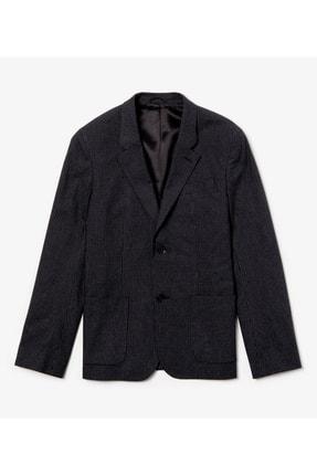 Lacoste Erkek Siyah Ekoseli Slim Fit Uzun Kollu Blazer Ceket 2