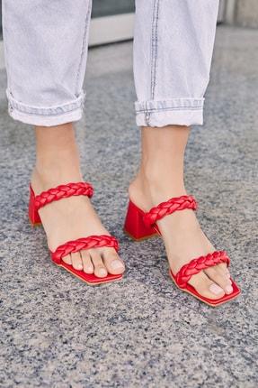 Sateen Kadın Kırmızı Cilt Örgü Bantlı Topuklu Terlik 1