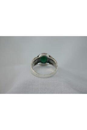 GİZA SİLVER Yeşil Akik Taşlı 925 Ayar Gümüş Erkek Yüzük 1