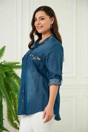 Rmg Kadın Mavi Taş Detaylı Büyük Beden Tensel Gömlek 1