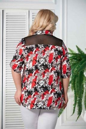 Rmg Kadın Mercan Kol Detaylı Büyük Beden Gömlek 3
