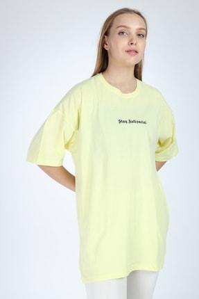 Millionaire Kadın Sarı Stay Antisocial Baskılı Oversize T-shirt 2