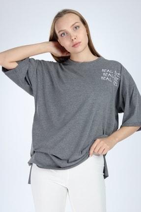 Millionaire Kadın Koyu Gri Real Eyes Oversize T-shirt 0