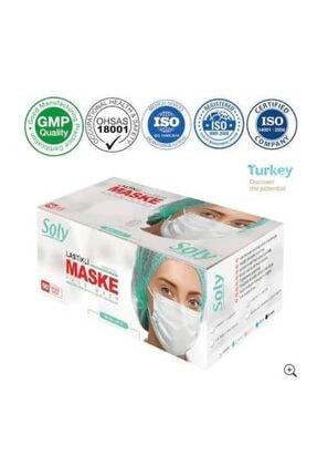 Soly Beyaz Care Cerrahi Maske  Üç Katlı Lastikli Burun Telli 50'li 4 Kutu 3