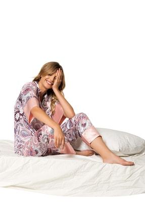 MOONGIRL Kadın Renkli Saten Pijama Takım 1