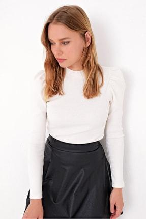 Trend Alaçatı Stili Kadın Ekru Prenses Kol Yarım Balıkçı Şardonlu Crop Bluz ALC-X5042 0