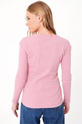 Trend Alaçatı Stili Kadın Pudra Pembe Çıtçıtlı Kaşkorse Bluz MDS-345-BLZ 4