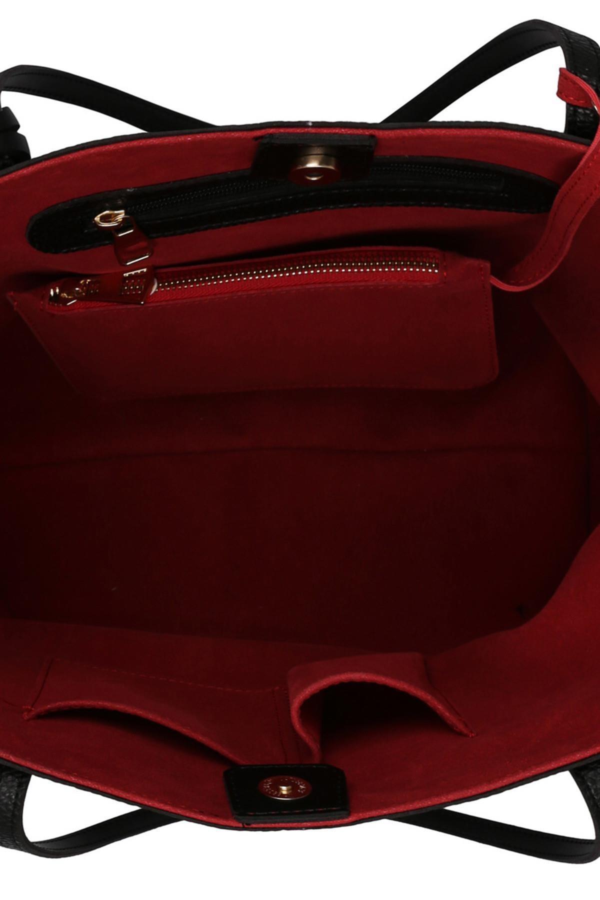 Beverly Hills Polo Club Kadın Tote Çanta Siyah, Kırmızı 4