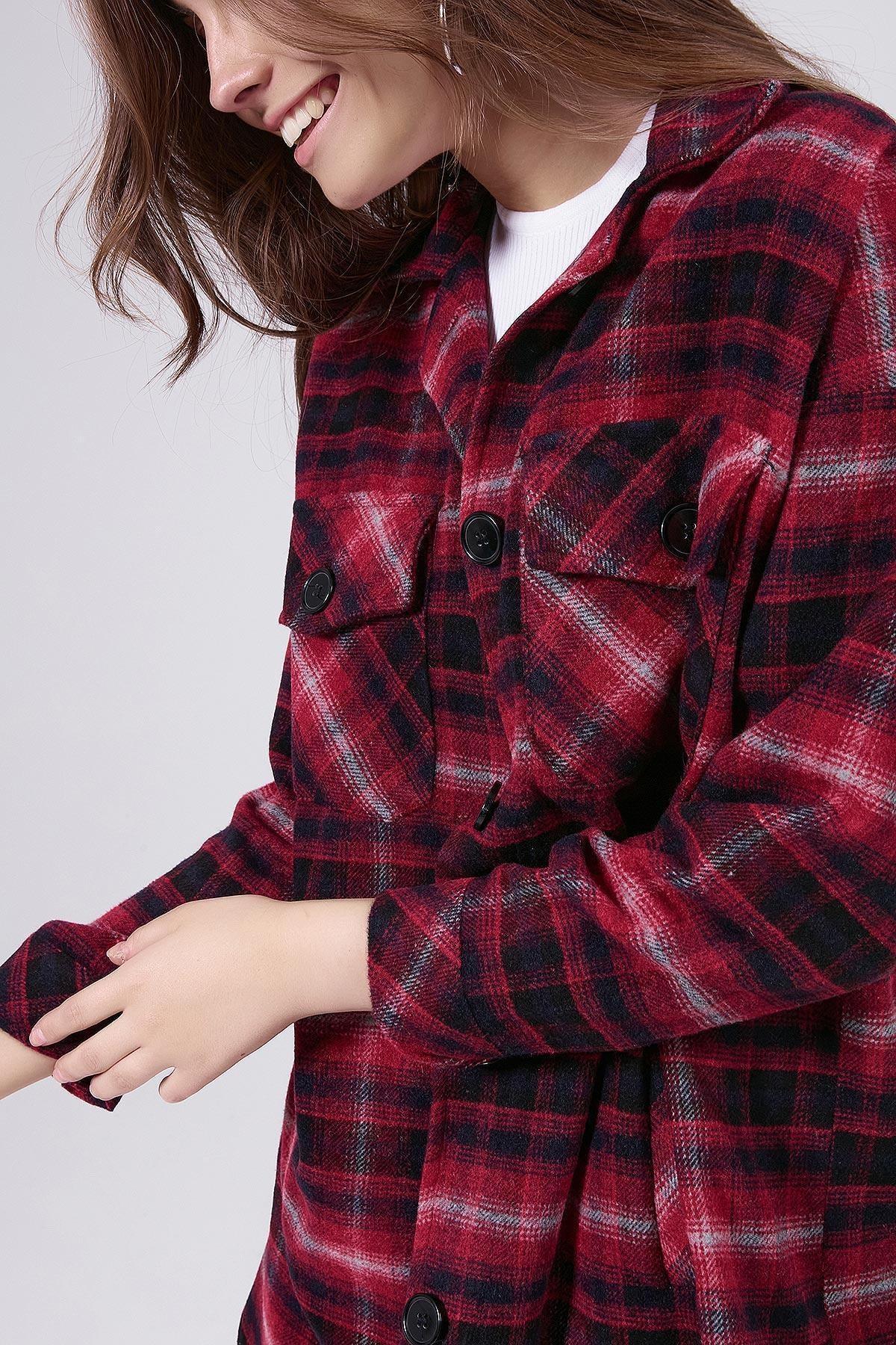 Y-London Kadın Kırmızı Ekoseli Uzun Oduncu Gömlek Ceket Y20W176-11228-1 2