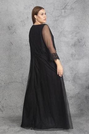 Şans Kadın Siyah Dantel Ve Tül Deyatlı Astarlı Simli Abiye Elbise 65N19350 3