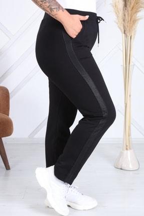 Heves Giyim Kadın Siyah Büyük Beden Şeritli Eşofman Altı 1