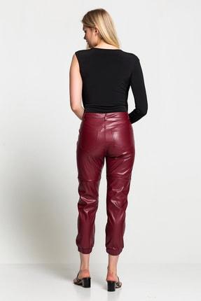 TEREZIE Kadın Bordo Yüksek Bel Paça Detaylı Deri Pantolon 2