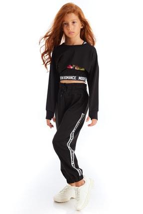 Colorinas Kız Çocuk Siyah Modern Romance Şeritli Pantolon 0