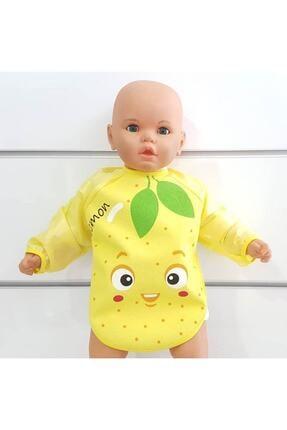 BebekOdam Limon Desenli Su Geçirmez Uzun Kollu Önlük 0