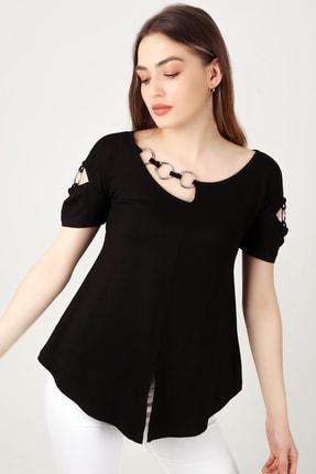 EMJEY Kadın Siyah Yaka Ve Kol Halka Detaylı T-Shirt She020B010087 1