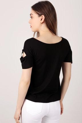 EMJEY Kadın Siyah Yaka Ve Kol Halka Detaylı T-Shirt She020B010087 3