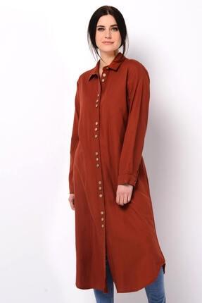 Nefise Kadın Kiremit Asimetrik Gömlek Elbise 3