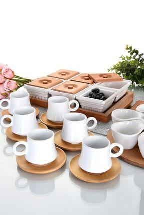 EvimSepette Evim Sepette Ahşaplı Lüks Sunum Seti Kahvaltılık+Çerezlik+Kahve Fincanı 1