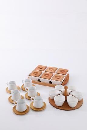 EvimSepette Evim Sepette Ahşaplı Lüks Sunum Seti Kahvaltılık+Çerezlik+Kahve Fincanı 2
