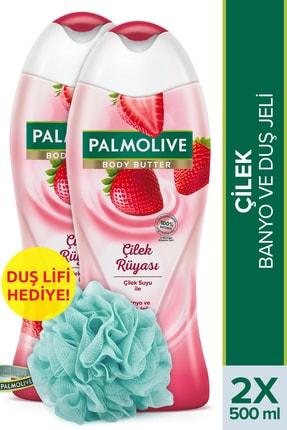 Palmolive Body Butter Çilek Rüyası Banyo Ve Duş Jeli 500 ml X 2 Adet Duş Lifi Hediye 0