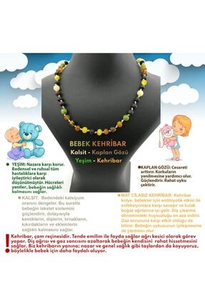 OSMANLI DOĞAL TAŞ Bebek Kehribar Kolye- Kalsit, Kaplan Gözü, Yeşim 1