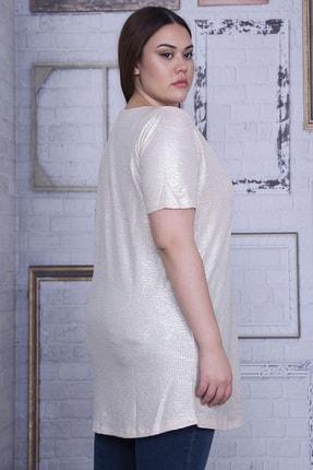 Şans Kadın Bej Sim Detaylı Bluz 65N25956 2