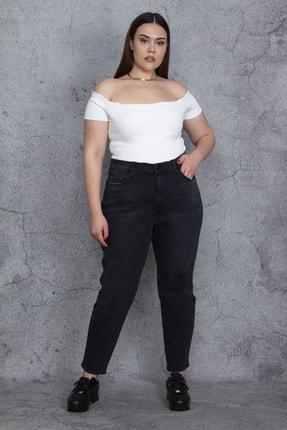 تصویر از Kadın Antrasit Yırtık Detaylı Likralı 5 Cep Rahat Kesim Kot Pantolon 65N25832