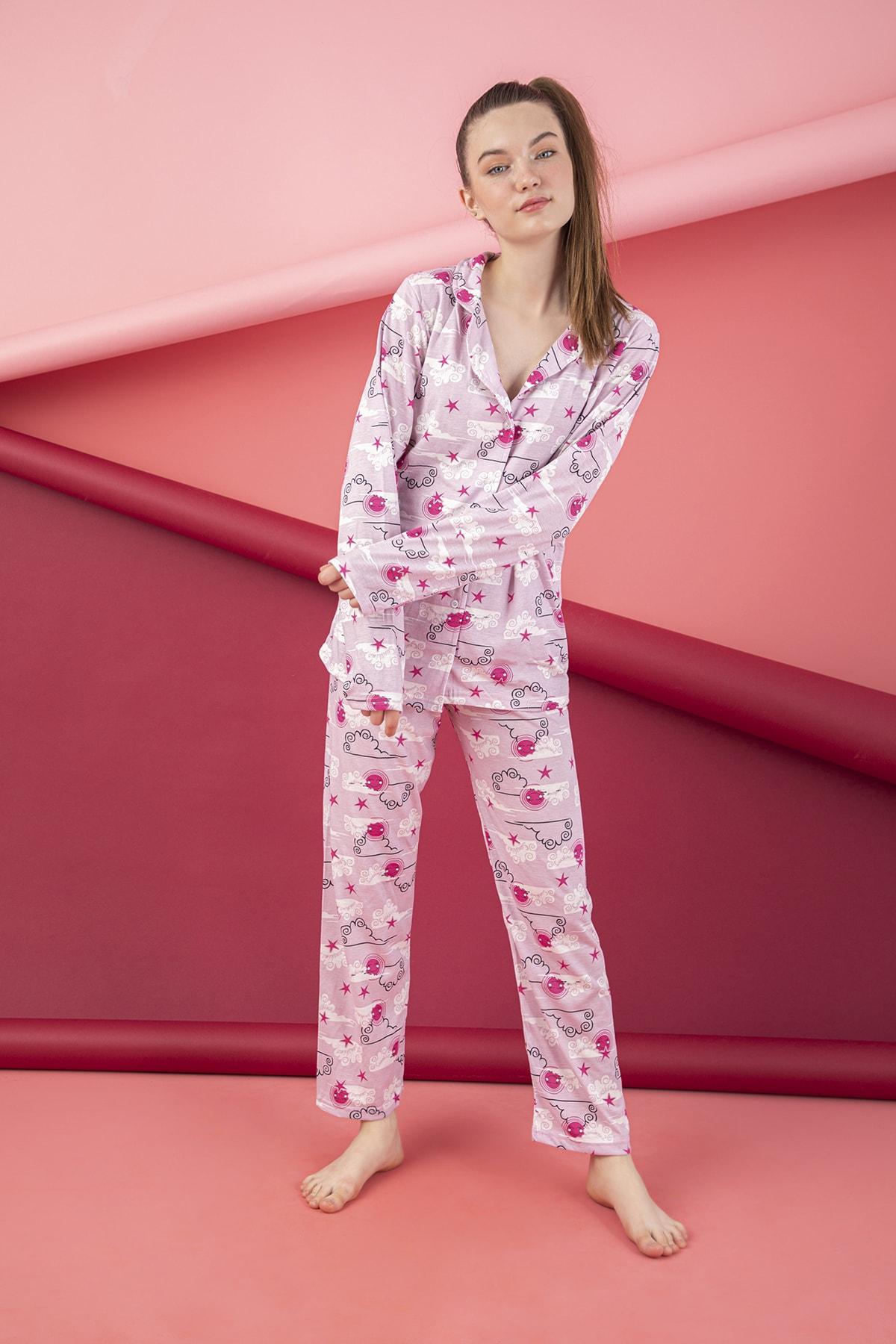 Pamuklu Düğmeli Pijama Takım
