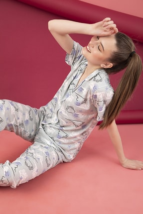 تصویر از Kadın Pamuklu Düğmeli Pijama Takım