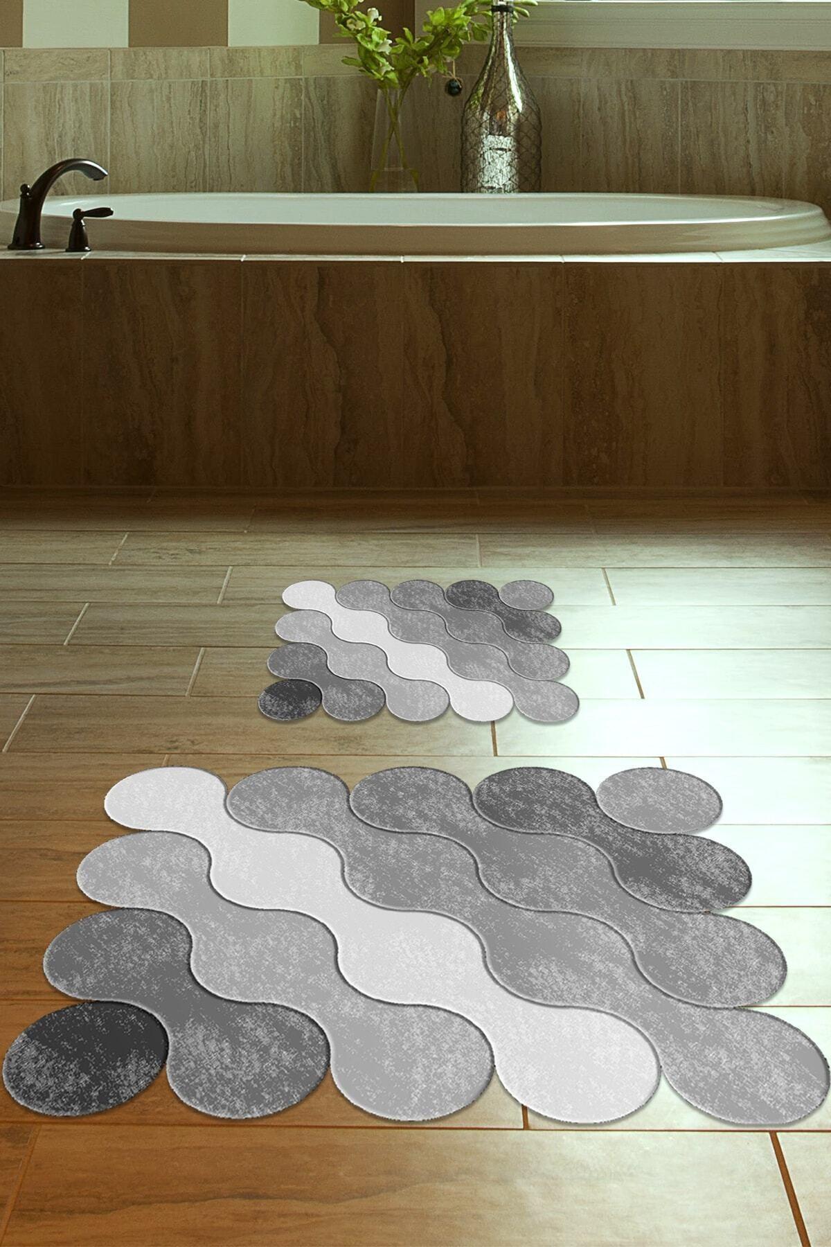 60x90 - 50x60 Grey Drop Dijital Banyo Paspası Lazer Kesim 2'li Klozet Takımı