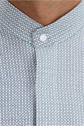 Kiğılı Kısa Kol Slim Fit Desenli Hakim Yaka Gömlek 3