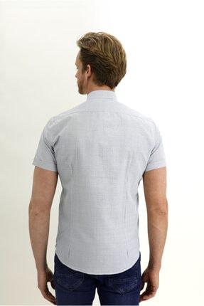 Kiğılı Kısa Kol Slim Fit Desenli Hakim Yaka Gömlek 4