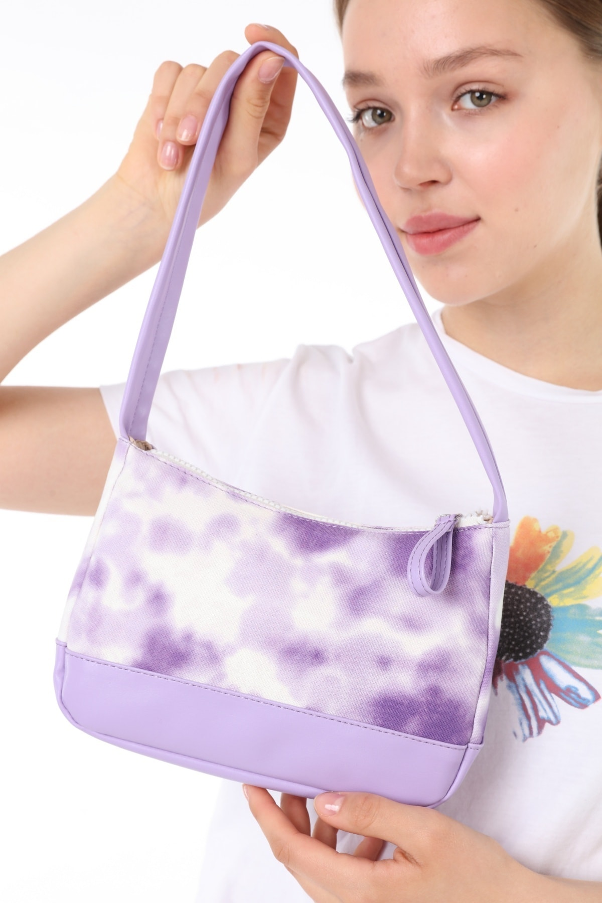 Icone Batik Baskılı Kanvas Baguette Baget Omuz Ve El Çantası Lila