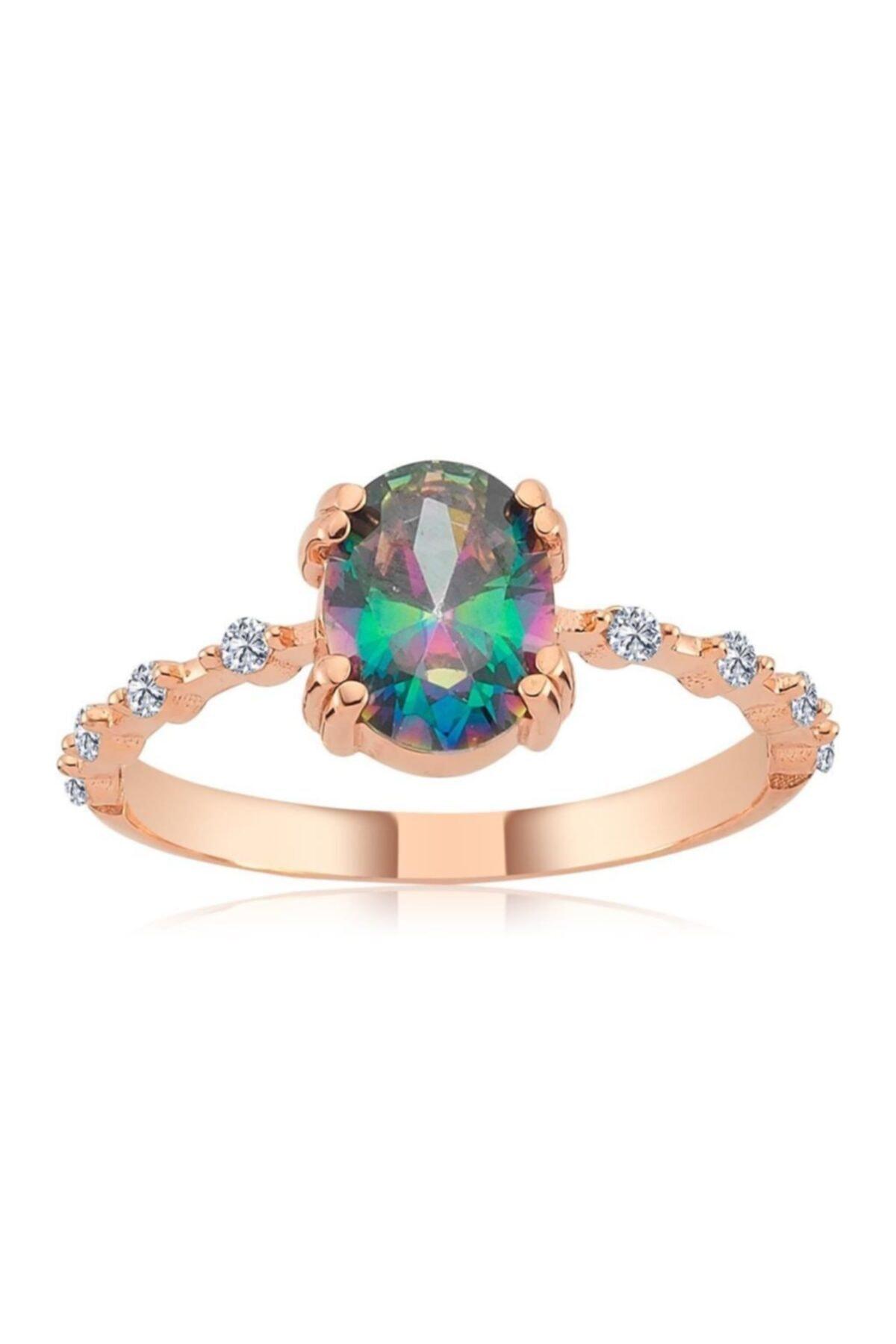 Mistik Topaz Ihtişamı Rose Renk Gümüş Yüzük