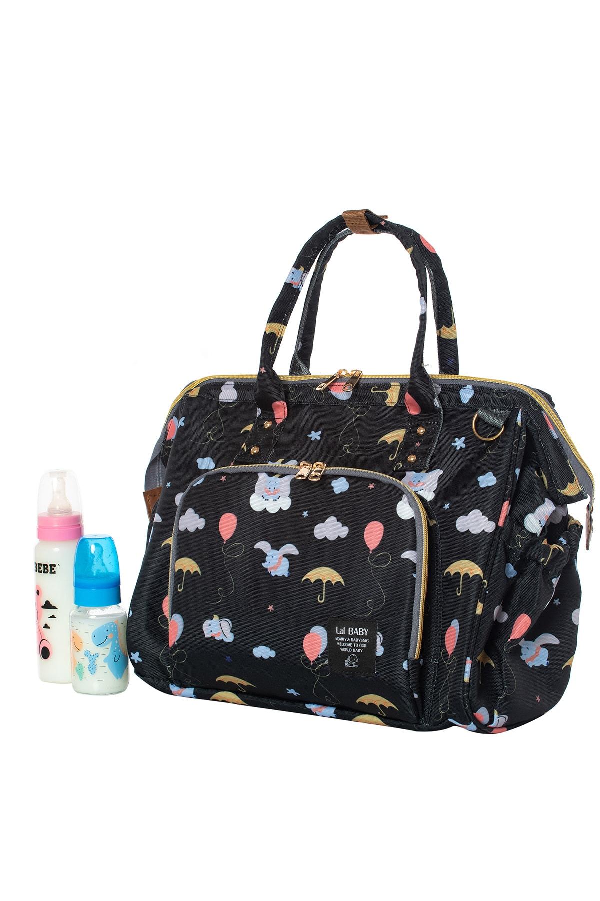Baggage Bag Fil Desenli Siyah Omuz Askılı Anne Bebek Bakım Çantası