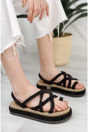 Moda Değirmeni Kadın Siyah Parmak Arası Sandalet 0