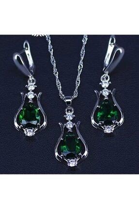 Armut Kristal Zirkon Zümrüt Yeşili Renk Taşlı Model Gümüş Takı Seti (KOLYE KÜPE) armutt10