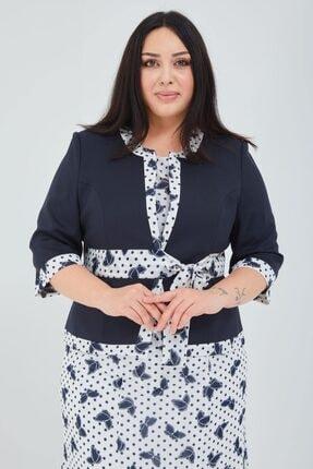 Kadın Büyük Beden Desenli Gömlek-etek-ceket Takım 05A