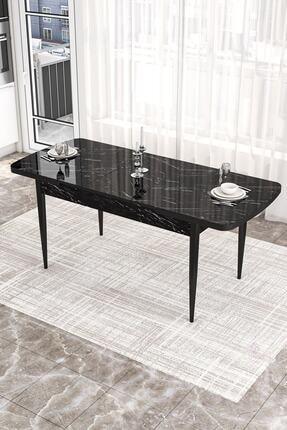 Canisa Concept Açılabilir Yemek Masası Takımı Siyah Mermer Desen Masa 4 Adet Sandalye 2